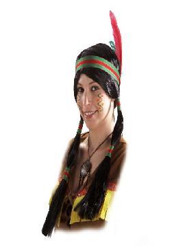 peluca india con coletas cinta y pluma