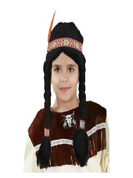 peluca india con coletas negras niña