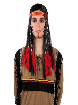 peluca indio con diadema y plumas