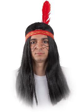 peluca indio larga negra con bicha adulto