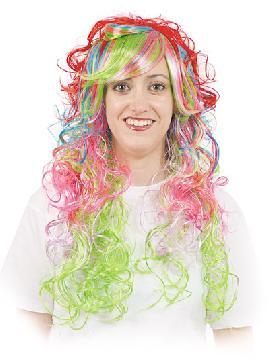 peluca lady multicolor melena ondulada