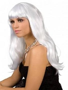 peluca larga con flequillo blanca