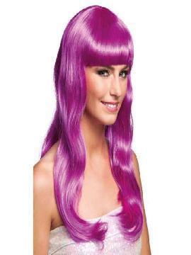 peluca larga con flequillo chique icy violeta
