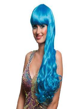 peluca larga con flequillo oceana icy azul