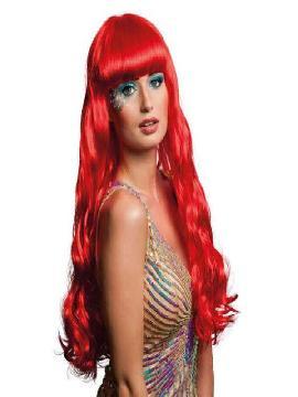 peluca larga con flequillo oceana rojo