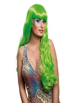 peluca larga con flequillo oceana verde