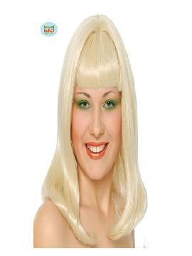 peluca larga con flequillo rubia vicky
