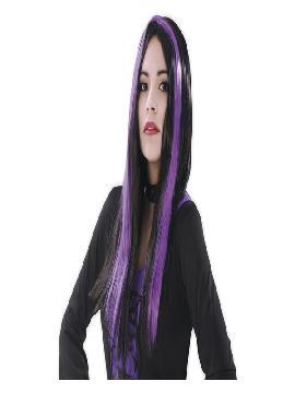 peluca larga de bruja negra y morada