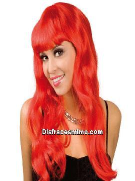 peluca larga con flequillo roja