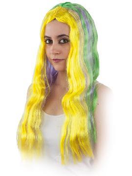 peluca larga hippie multicolor adulto