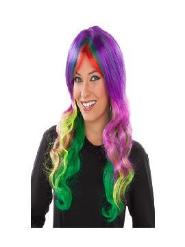 peluca larga ondulada multicolor adulto