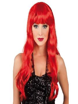 peluca larga roja con flequillo