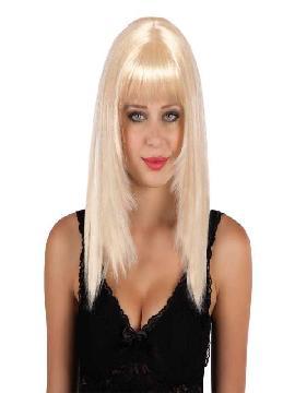peluca larga rubio platino con flequillo
