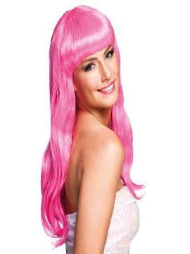 peluca largaa con flequillo chique icy rosa