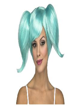 peluca manga azul con coletas cortas