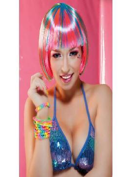 peluca media con mechas multicolor