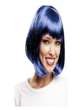 peluca media melena azul con flequillo