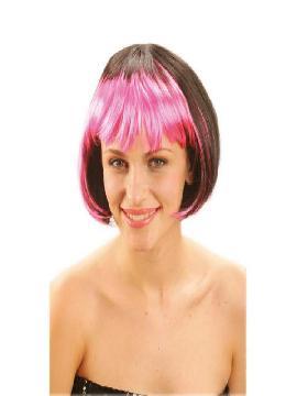 peluca media melena flequillo rosa