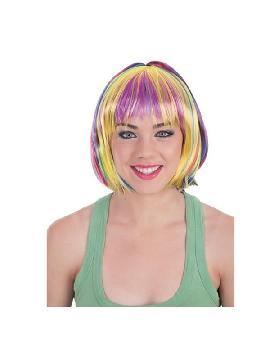 peluca media melena mechas colores