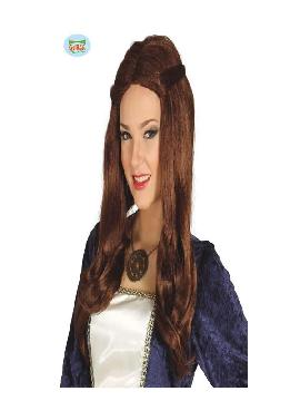 peluca medieval castaña mujer