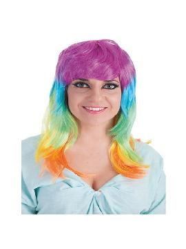 peluca melena de 4 capas de colores