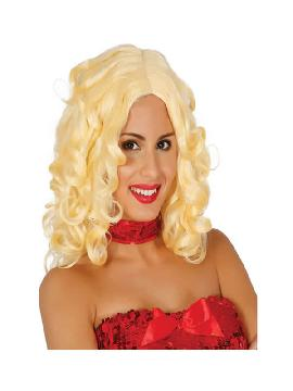 peluca melena de rizos rubia