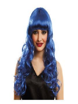 peluca melena katy con rizos y flequillo azul