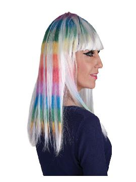 peluca melena larga arcoiris con flequillo