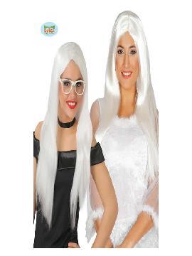 peluca melena lisa blanca mujer