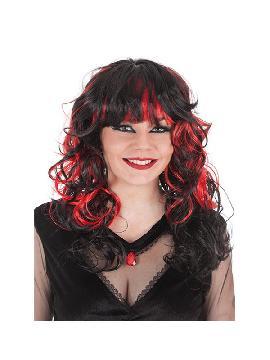 peluca melena negra con bucles negros y rojos