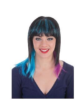 peluca melena negra con mechas bicolores
