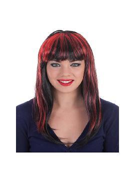peluca melena negra con mechas rojas