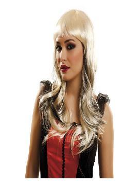 peluca melena ondulada rubia y negra
