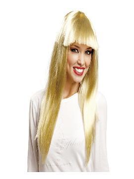 peluca melena rubia larga con flequillo