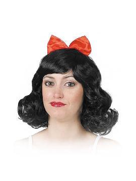 peluca morena de chica con lazo rojo varios colores