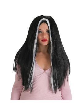 peluca morgana negra con mechas blanca