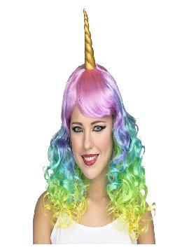 peluca multicolor de unicornio con cuerno rizada