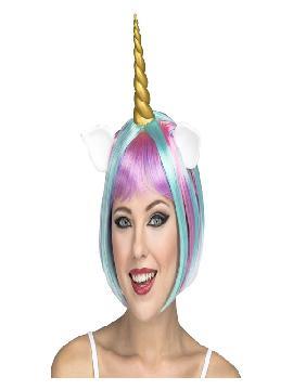 peluca multicolor de unicornio con cuerno y orejas