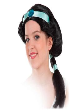 peluca negra de jasmin con diadema