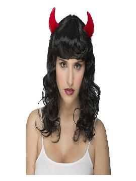 peluca negra ondulada con cuernos de demonia