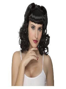 peluca negra rizada años 50