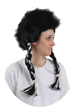 peluca negra ultimo mohicano con trenzas