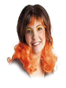 peluca ondulada con mechas naranjas