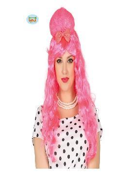 peluca pin up rosa con moño mujer