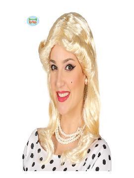 peluca pin up rubia para mujer