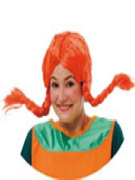 peluca de pipi naranja con coletas y con trenzas