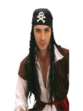 Peluca de pirata larga con pañuelo. será el complemento perfecto para tus disfraces. Darás la nota de color con pañuelo con calavera, en tus fiestas de piratas y corsarios de disfraces. Complementos para piratas