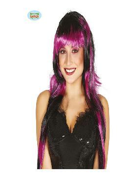 peluca punk negra y morada lisa mujer