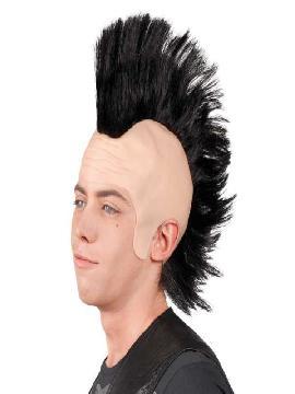 peluca punky con cresta negra