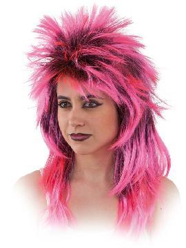 peluca punky con mechas varios colores